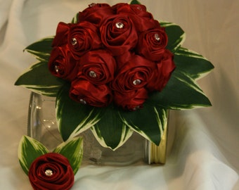 Cranberry Ribbon Rose Bouquet and Grooms Buttonier