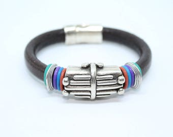 Women s dark-brown leather bracelet with tube-spacer tribal decoration