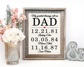 Dad Gift | Burlap Wall Art | Children or Grandchildren Birth Dates | Burlap Print | My Greatest Blessings Call Me Dad, Daddy, Grandpa, Papa