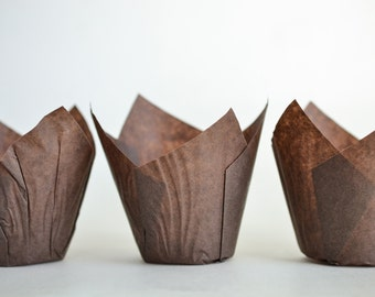 Baking Cups, 200 Tulip Cupcake Liners, Paper Baking Cups, Bulk Cupcake Liners, Brown Paper Baking Cups, Muffin Liners