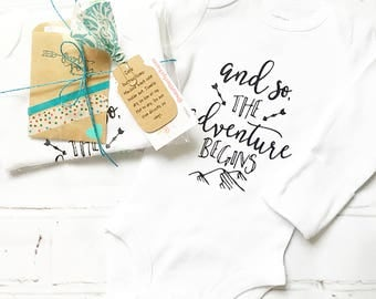 Baby Bodysuit, Infant Bodysuit, Baby Shower Gift, New Baby Gift, Unisex Baby Clothing, Coming Home Outfit, Adventure Begins