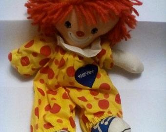 Toy Clown, Plush toy clown, 1978 Knickerbocker toy, Half Pint the clown doll