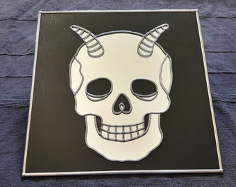 "Hand made 'Horny Skull' Mirror 12""x12"""