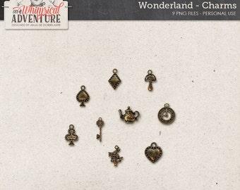 Alice In Wonderland digital scrapbooking, digital download, vintage charms, spades heart diamond, clock, white rabbit, teapot, key, mushroom