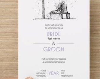 Bride and Groom Tree Sketch Wedding Invitation