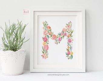 Personalized Print, Floral Letter, Printable Alphabet, Nursery Print, Monogram Print, Letter Print, Nursery Wall Art, Christmas Gift, DT235