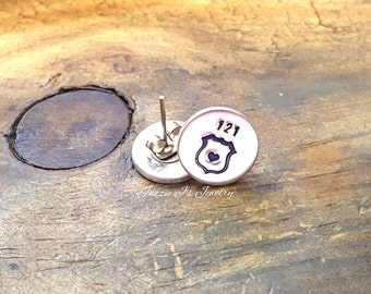 Police Wife Earrings, Leo Wife Earrings, Police Badge Earrings, Police Officer Gift, Handstamped Jewelry, Gift for Her, Police Jewelry