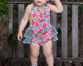 Baby Girl Romper, Pink Floral and Stripes romper and head wrap set, pink and turquoise floral romper, girls spring outfit