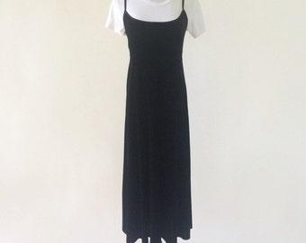 VTG 90's DKNY Black Velvet Slipdress with Built-in Bodysuit
