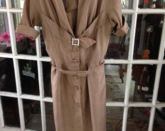 40's toast brown raw silk wiggle dress with rhinestone buckle