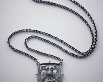 UNIQUE - Sterling Silver Owl Coin Necklace, 925 Owl Coin Pendant, Silver Owl Coin Tetradrachm, Silver Owl Coin Amulet,Owl Necklace, Owl Coin