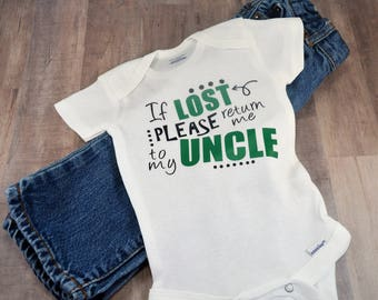 If Lost Please Return To My Uncle Baby One Piece Bodysuit Creeper Toddler T Shirt Tee Top Birthday Shower Gift Idea Funny Nephew Clothing
