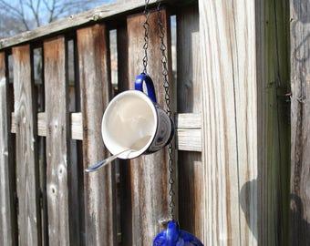 Tea Cup Bird Feeder - Double Hanging Suet Bird Feeder