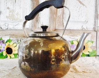 Tea Kettle/Pot/Country Cottage Decor/Flower Garden Decor/Farmhouse Kitchen Decor/Patinaed Metal/40's Vintage