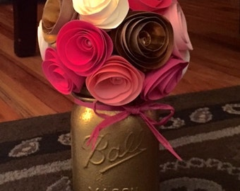 Rustic Gold & Pink Paper Flower Bouquet- Hand Painted Mason Jar