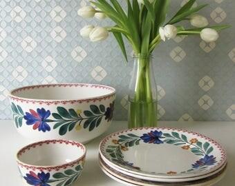 Vintage 1930s Societe Ceramique Maastricht Plates, and Two Bowls with Folklore Floral Design (Boerenbont)