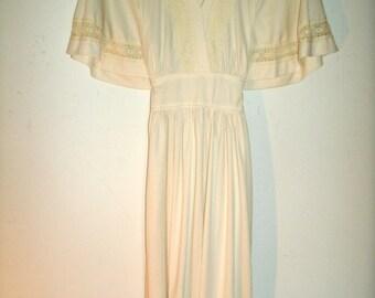 Vintage 1970s Maxi Peasant Dress, Zum Zum, Boho Wedding, Bust 35 Inches, Waist 31 Inches