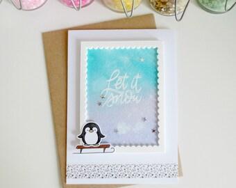 Carte pingouin - carte de voeux - hiver - joyeux noël