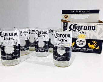 Set of 6 Corona Stubby Bottle Drinking Glasses - Recycled / Upcycled