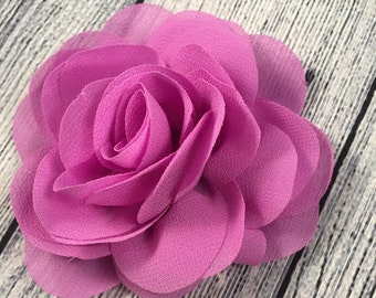 "Violet Flower, 3.15"" Chiffon Flower, Chiffon Flower, Headband Flower, Hair Accessories, DIY Headband, Accessories"