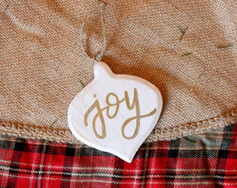 Wooden Hand Lettered Ornament | Joy | Christmas | Christmas Tree