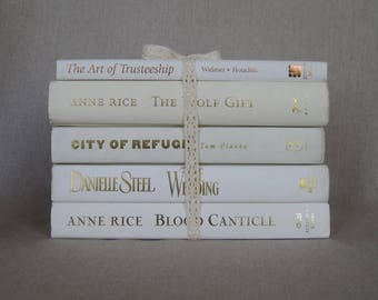 Book Bundle in White and Ivory Tied in Ivory Cotton Crochet Ribbon, Decorative Book Set, Wedding Books