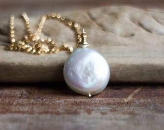 Single Pearl Necklace, June Birthstone Gift, Freshwater Pearl Pendant Necklace, White Pearl Necklace, Pearl Jewellery, Button Pearl Necklace