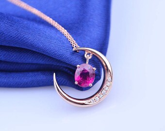 Crescent New Moon Red Tourmaline and Diamond Pendant Necklace in 18k Rose Gold Wedding Birthday Valentine's Mother's Day