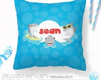 ON SALE Personalized Pillow, surfing shark pillow, 18x18 pillow with or without stuffing, kids pillow, personalised gift pillow, PL124
