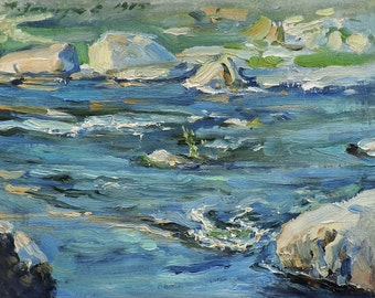"VINTAGE RIVERSCAPE, ORIGINAL Oil Painting by listed artist Zakharov A. 1970s Impressionist Ukrainian Art, Waterscape, Nature, ""River stones"""