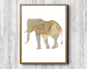 Instant Download - Watercolor Elephant Silhouette Wall Art - Safari / African Animal Print - Beige Wall Decor - Wild Animal Poster - Neutral