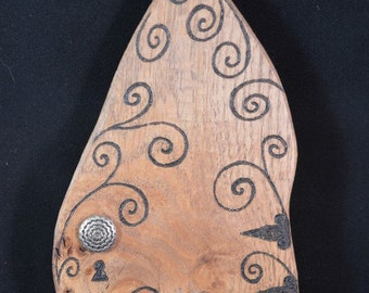 Recycled Wooden Fairy Door with Vintage Button Handle and hand pyrographed design