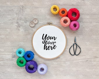 Embroidery hoop mockup / Styled stock photography / Instant download / #4081