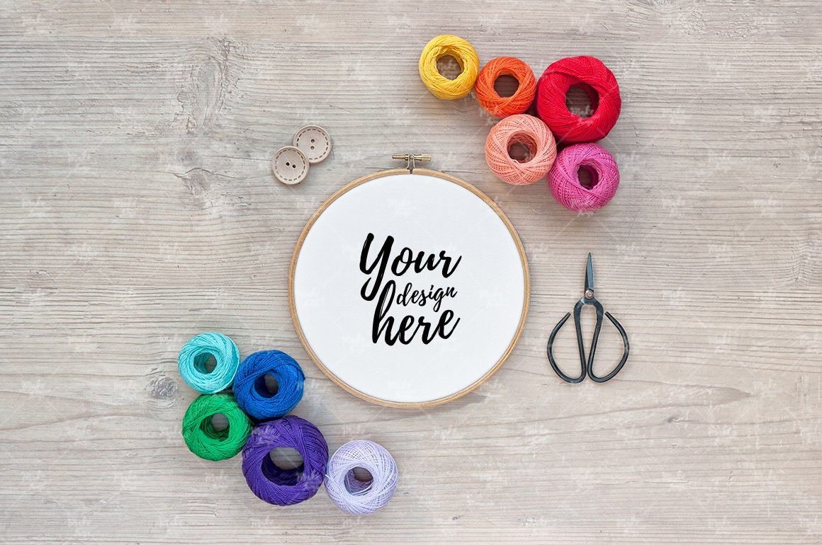 Embroidery hoop mockup styled stock photography instant