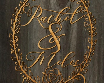 Custom Names in Wreath | Rose Accent | Wedding Cake Topper 8inches | Calligraphy | Laser Cut Cake Topper by Woodword Design Studio