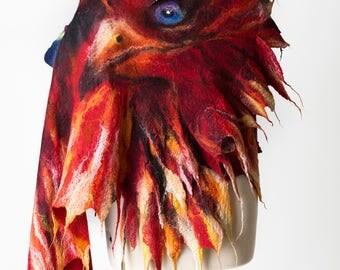 Phoenix shawl  / Wings shawl / Silk scarf  / Nuno felting scarf /  Handmade felted scarf / Merino wool / Scarf wings/ Free shipping.