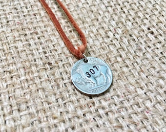 Nickel Necklace, Buffalo Coin Pendant, Area Code Necklace, Buffalo Nickel Necklace, Wyoming Necklace, Stamped Necklace, Bison Necklace