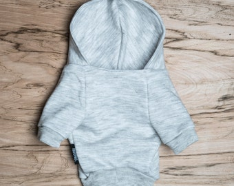 SALE PRICE - one size only - Dog / cat Hoodie - Light Grey -  Handmade pet clothes - Ideal for dogs,  puppies and cats