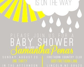 Sunshine Baby Shower Invite - Gender neutral Baby Shower - Invitation - postcard - PDF ONLY