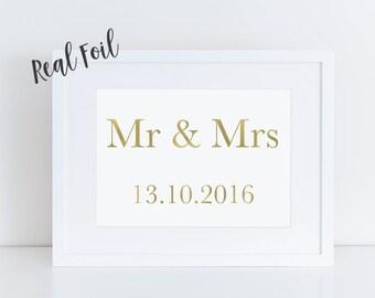 Gold foil print, custom print, wedding gift, romantic print, anniversary gift, wall art, foil art, foil print, art prints, wedding print