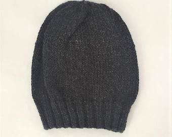 Slouchy Beanie Hand Knit, Lightweight Slouchy Hat, Hand Knit Hat - Charcoal Black (Adult)