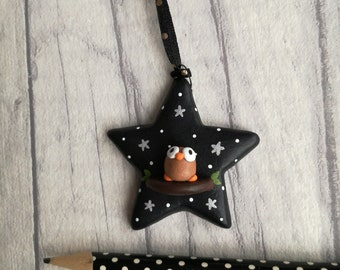 Miniature pottery owl star decoration. Little owl starry night ornament. Black and white with silver stars