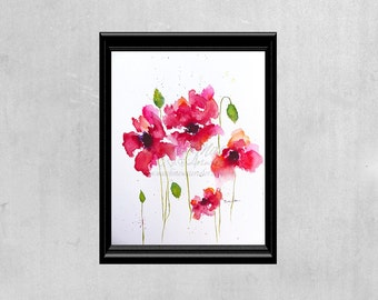 Poppies Painting Red Home Decor Floral Watercolor Original Watercolors Floral Wall Art