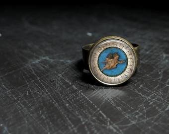 Glass Angel Cherub Ring Antique Bronze Cherub Art Drawing Ring Glass Cherub Painting Ring Cherub Jewelry Antique Bronze Ring Antique Style