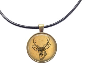 Animal jewelry Stag necklace Deer head pendant
