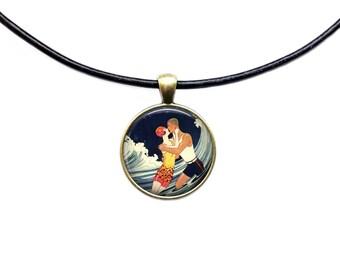 Kiss pendant Vintage love jewelry Romantic necklace
