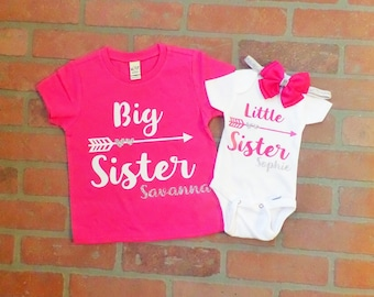 Personalized Glitter Big Sister, Little Sister Shirt / Onesie set