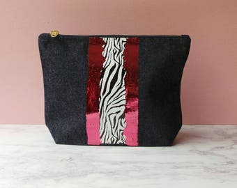 Denim Make up bag - zebra and pink