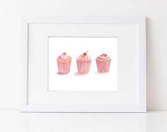 Pink Cupcake Art - Watercolor Cupcakes - Food Art Print - Kitchen Art - Nursery Decor - Pink Girls Room - Pink Desserts - Gift