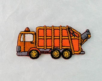 Garbage Truck Iron on patch - Refuse Collection Vehicle Applique Embroidered Iron on Patch